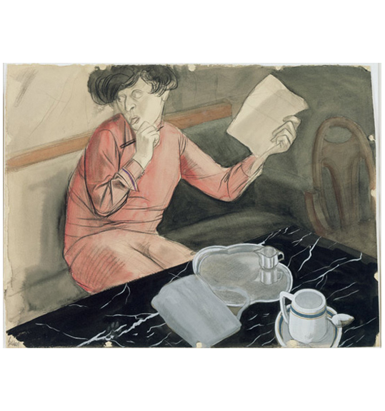 A woman sits at what appears to be a black marble table, wearing a red garment and holding a pen and paper. Her head is turned to the left and she sticks out her tongue.