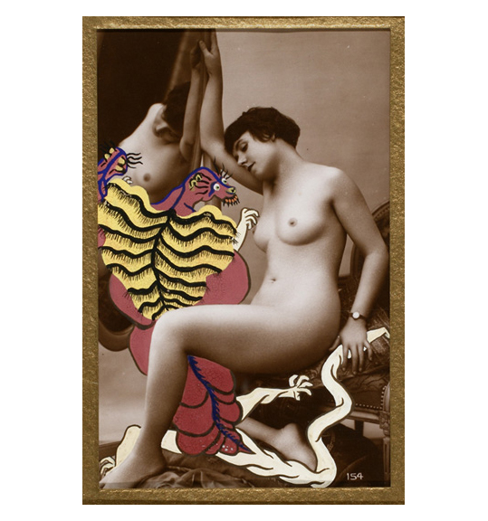 A sepia toned photograph of a nude woman sitting on the edge of a padded chair with her right arm holding onto a mirror. A black, yellow, and red creature is painted between the woman and the mirror, and her left hand appears to be holding its tail.