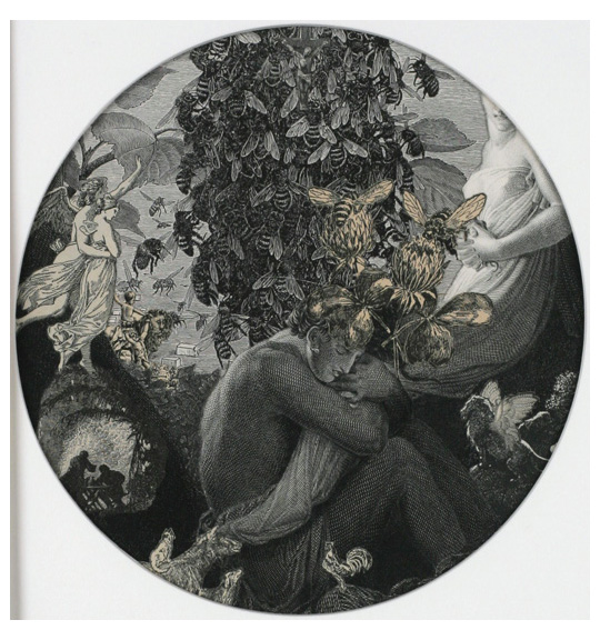A circular collage of various images. A woman sits and embraces a bundle of fabric, which appears to be part of a dress of the female figure on the right. Two angelic figures appear on the left side, gesturing toward a swarm of bees in the background. Several bees sit on a large flower in the center of the work.