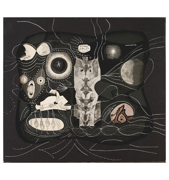 A collage consisting of textured pieces and various cut outs. The cut outs are of faces, planets, several hands, and the moon. The black board is cut out to create a depression, where the cut out images are placed. Thin white lines and dotted lines circle and swirl around the cut outs.