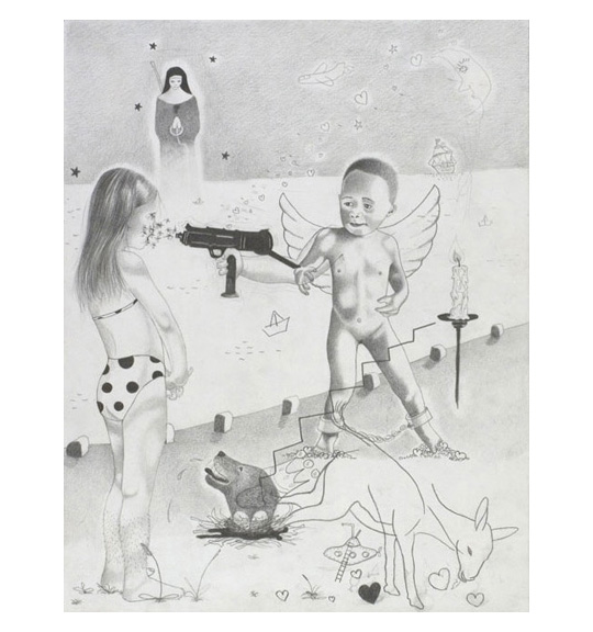 A pencil drawing of multiple images. A girl in a bathing suit stands with arms clasps in front, and a nude boy with wings faces her. Also seen are the images of a gun, a kicking deer, and the dog's head emerging from the ground.