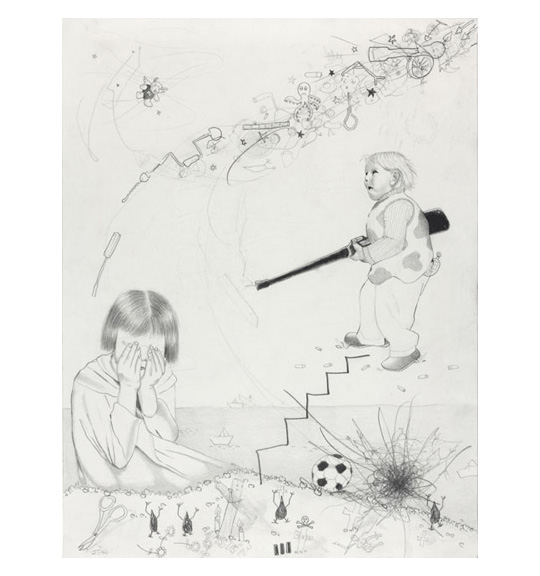 A drawing of various images, including a young child wearing a shirt with large spots and holding a rifle. On the left side, a young girl sits with her hands over her eyes.