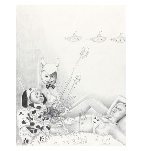 A drawing of various images, including two young children wearing costumes. One child is dressed as a devil and the other as a Dalmatian dog. A girl wearing a bikini top reclines behind them, and three small submarines can be seen in the background.