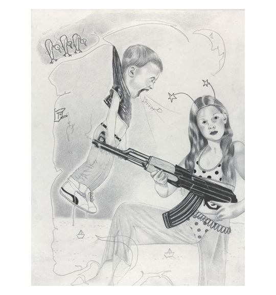 A drawing of a young girl wearing long pants and a polka dot shirt, holding a machine gun or rifle. On the left, a young boy hangs on a tree branch from the back of his shirt, and appears to be yelling.