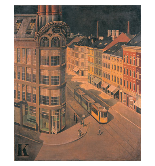 A painting of a city scene. A yellow and green tram is centered, and colorful buildings surround the street. People can be seen standing on the sidewalk and crossing the street. A building with curved facade stands on the left.