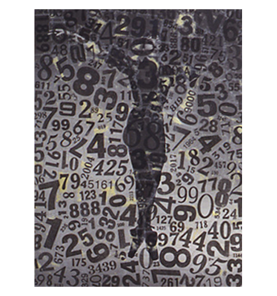 An image of what appears to be a person hanging, with their arms outstretched as if on a cross. The figure is overlaid with a series of numbers in different fonts and sizes, covering the full surface.