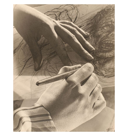 A brown toned photograph of a person's hands. One hand is holding a pen or pencil, and the other lays on a piece of paper. The person seems to be drawing a human face.