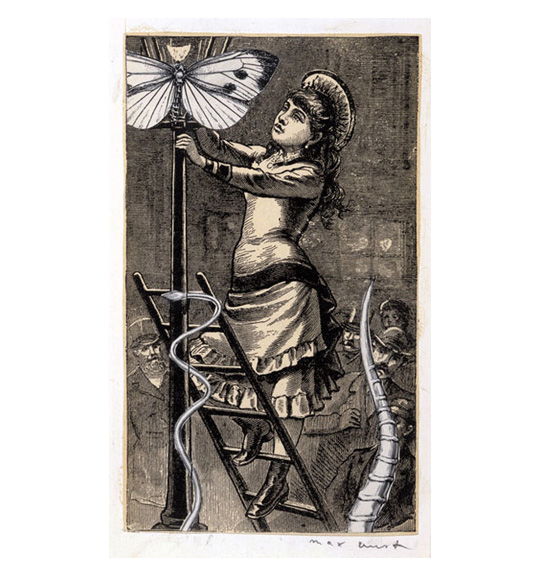 A woman wearing a ruffled dress and cap stands on a ladder leaning against a lamp post. A snake appears to be climbing up the post, while a butterfly sits on the lantern.