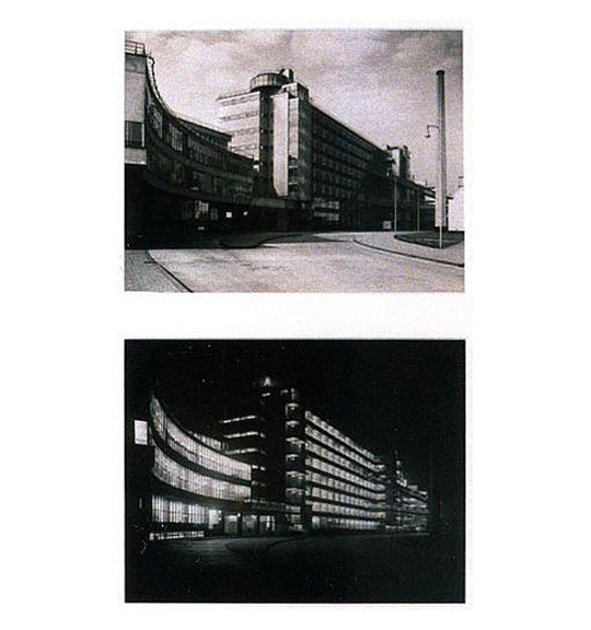 A series of two black and white photographs. The top image shows a street and a multi-level curved building. The bottom image shows the same building, seemingly during the nighttime with its lights on.