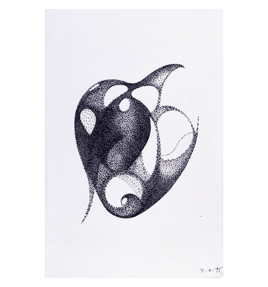 A drawing of a heart like shape with holes, made of small dots.