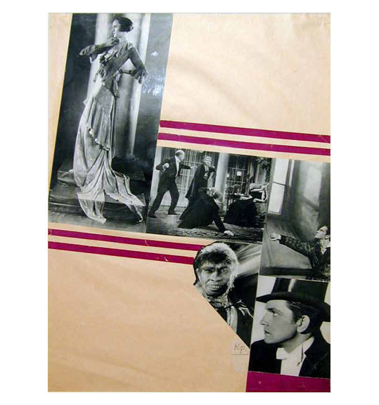 Collage of images of what appear to be dance or performance scenes. A woman in a long gown is on the upper left, while a man in profile wearing a top hat and tuxedo is on the lower right. The images are framed by horizontal maroon stripes.