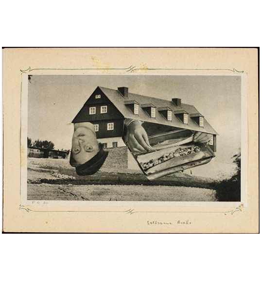 A collage image of a house, an upside down face wearing a hat, and hands over a metal container.