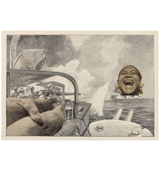 A collage image of what appears to be a ship or submarine, with a photograph of two seals and a human face with bared teeth.