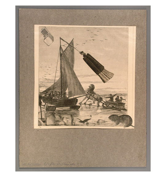 An image of a sailboat approaching a beach. A horse pulling a carriage with three passengers appears to the right of the sailboat.