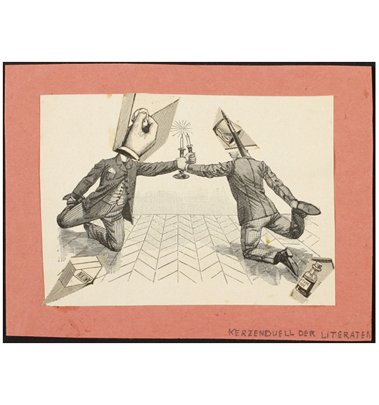 An image of two figures wearing formal suits and reaching towards each other, grasping two candlesticks. The figures are positioned as if resting on their knees on a chevron patterned floor. The work has a wide pink border.
