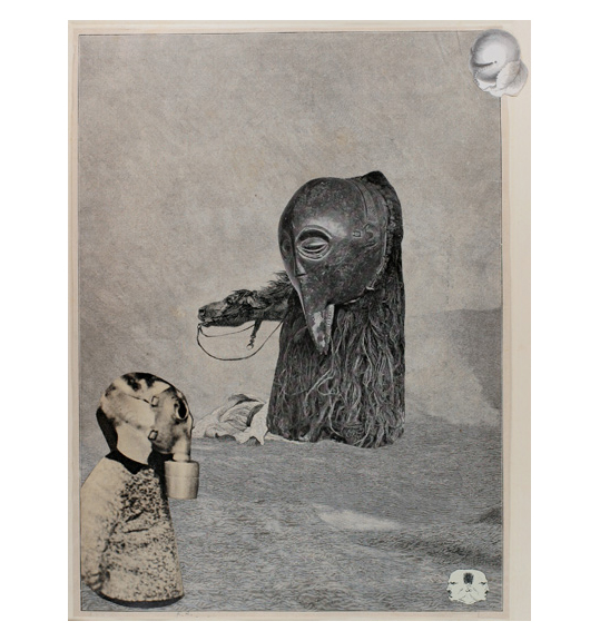 A child-like figure stands in the left corner, seen from the waist up, and faces right wearing a gas mask. A black mask-like figure is situated in the center of the work, out of which protrudes a horse's head and neck.