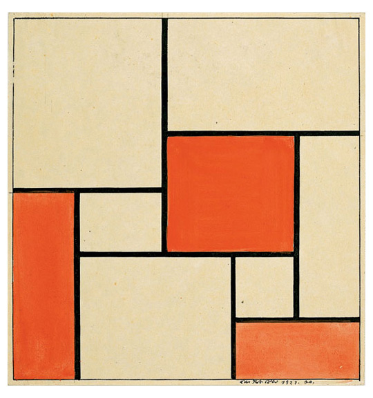 An image of a square work consisting of smaller squares and rectangles of beige and pinkish-red. The shapes are separated by thick black lines.
