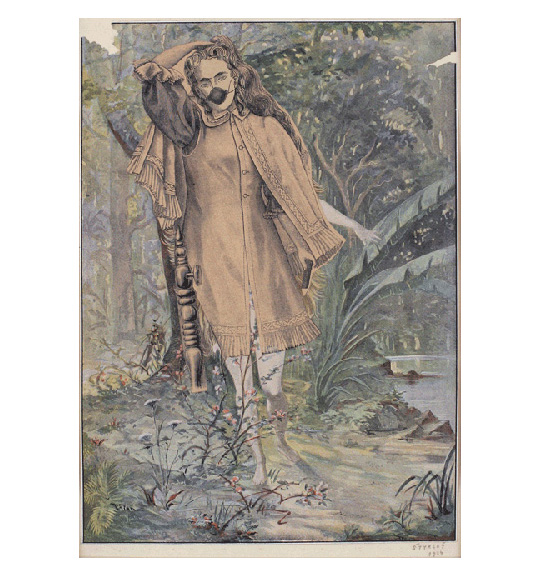 A woman in a buttoned dress and cape touches her head as if holding back her hair. A small ball-shaped object obscures her mouth, and she appears barefoot walking through a forest landscape.
