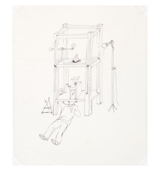 A drawing of a man lying on his back under a rectangular stand. A camera rests on the bottom shelf about the man's head and a lamp with a lightbulb stand to the right.