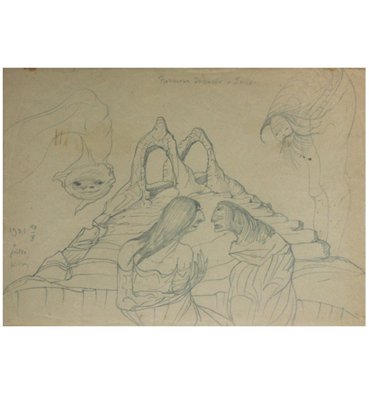 Pencil drawing of two figures sitting in front of a rock formation with two arches.