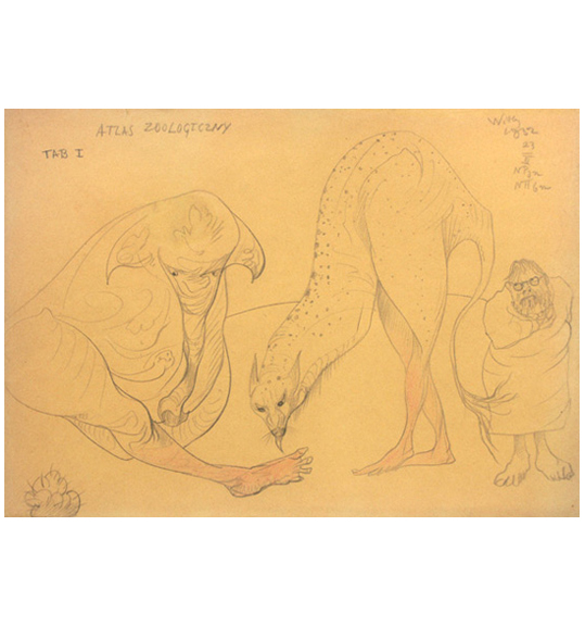 Pencil drawing of an elephant-like creature with human features sitting on the ground, next to a bird-like creature. A man in a toga or robe and glasses stands to the right.
