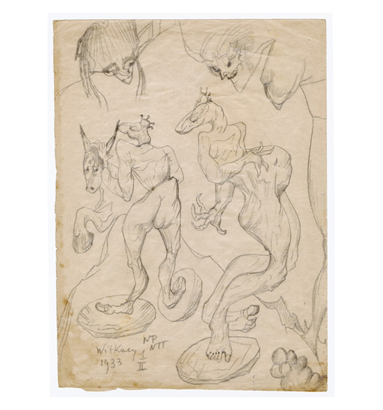 Pencil drawing of three creatures with horse-like faces and claws. The bodies and legs are twisted, and two faces are placed at the top right of the drawing as if watching them.