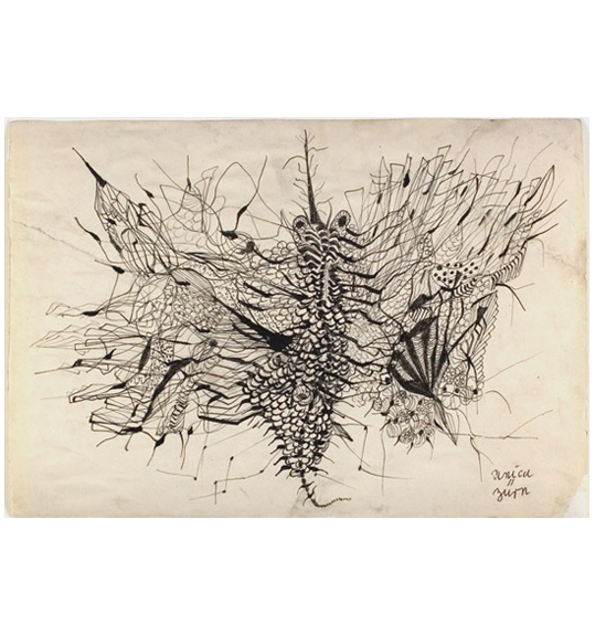 A drawing consisting of various bold and thin lines, perhaps evoking an image of a caterpillar or a many-legged insect.
