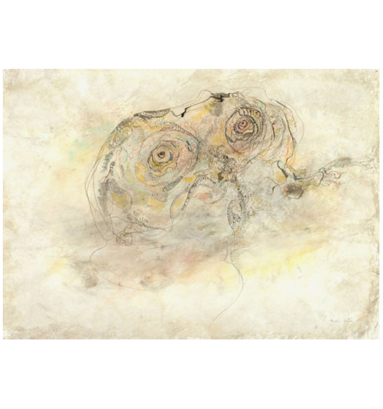 A drawing on a background of beige paper with swirls of other colors such as yellow, red, and gray. What appears to be a creature, perhaps owl-like, with large eyes appears in the center.