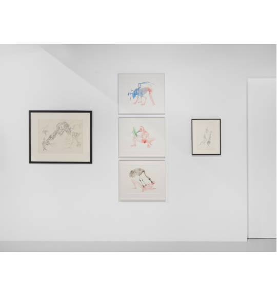 A photograph of a white exhibition wall with two works in black frames between three works in a vertical row in white frames.