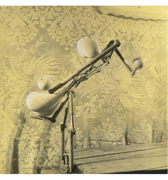 A photograph of a piece of machinery or a kind of standing, appearing to stand next to or be clipped onto a wooden table. A patterned fabric, perhaps a tablecloth, hangs in the background.