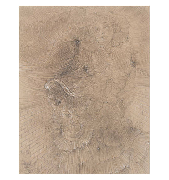 A work on light brown paper showing two female figures. They consist of long flowing lines, and appear as if one is standing over the other. The background shows bricks on both sides, as if they are standing in a corner.