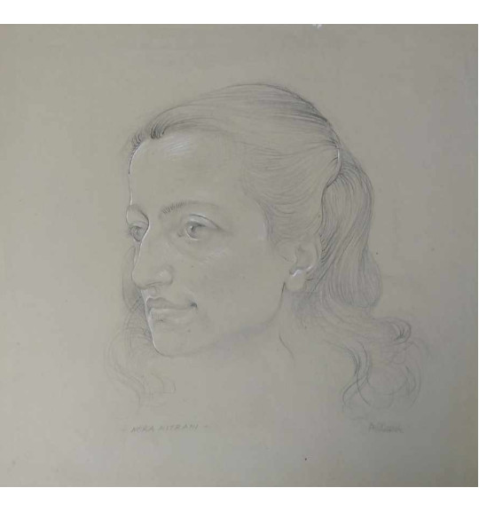 A drawing of a woman with shoulder length hair, pulled back with a clip on the left side of her head. She gazes to the left and only her head can be seen.