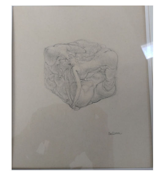 A drawing showing what appears to be bodies molded into a cube shape.